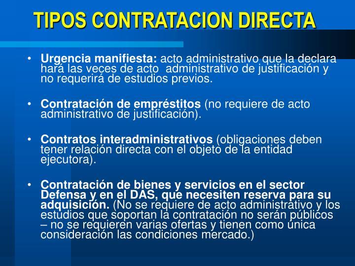 TIPOS CONTRATACION DIRECTA