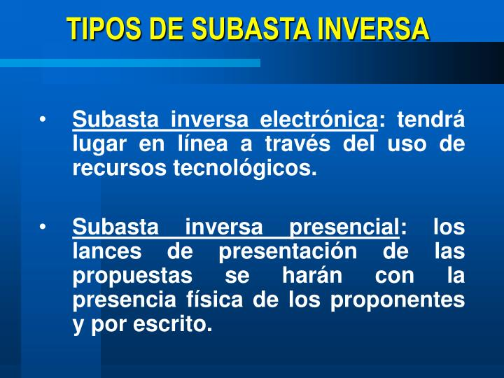TIPOS DE SUBASTA INVERSA