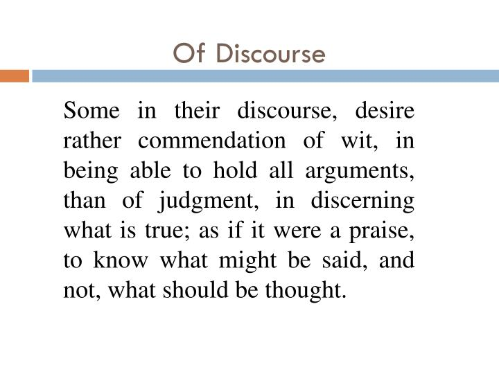 Of discourse1