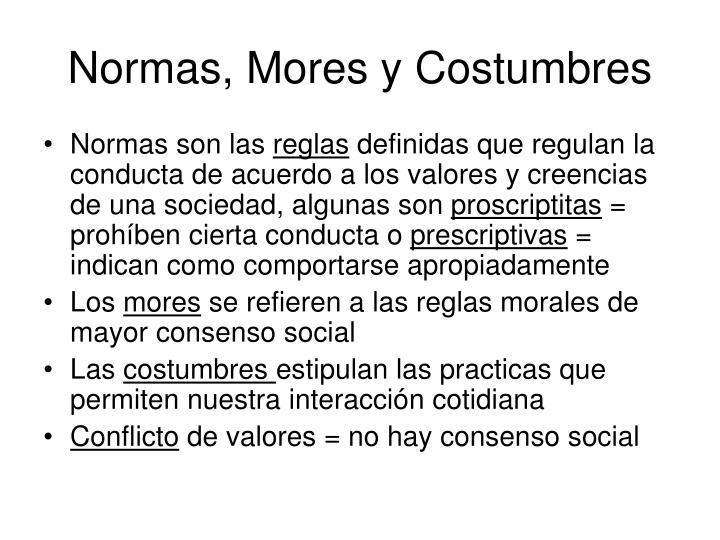 Normas, Mores y Costumbres
