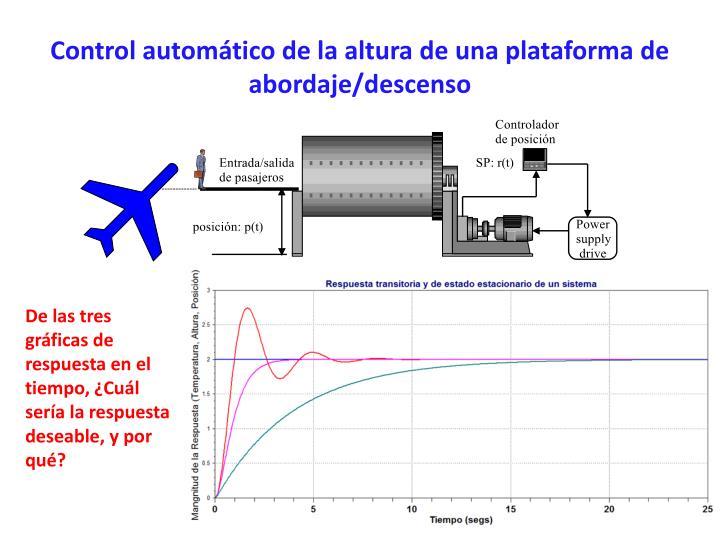 Control automático de la altura de una plataforma de abordaje/descenso