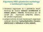 argumenty pro uplat ov n marketingu v neziskov ch organizac