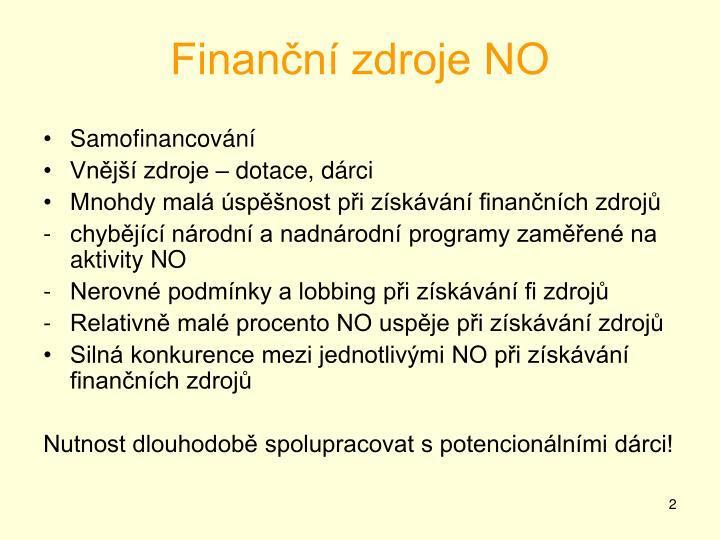 Finanční zdroje NO