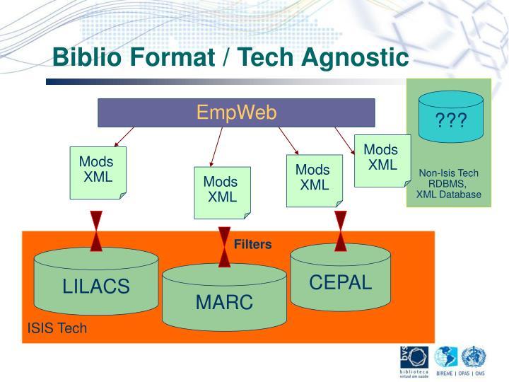 Biblio Format / Tech Agnostic