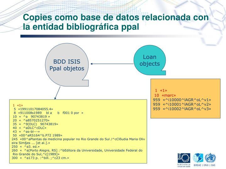 Copies como base de datos relacionada con la entidad bibliográfica ppal
