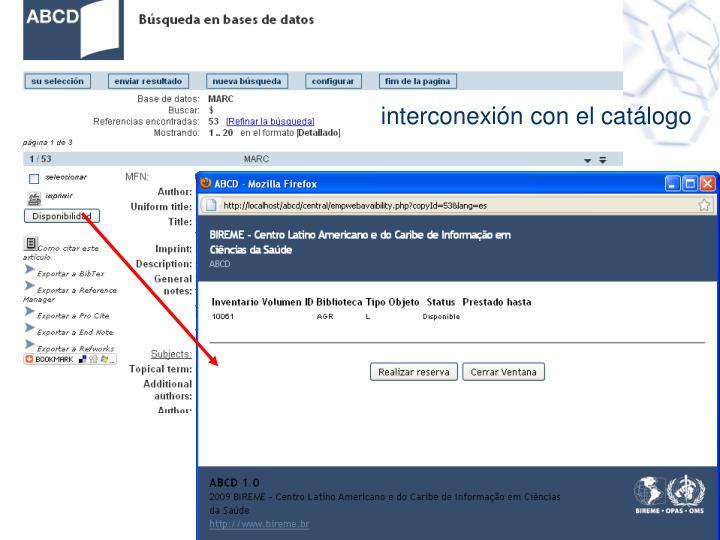 interconexión con el catálogo