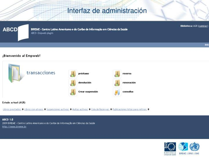 Interfaz de administración