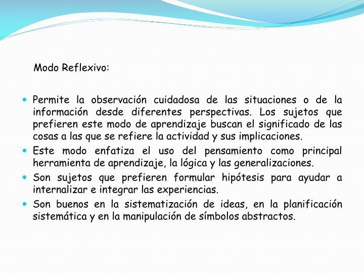 Modo Reflexivo: