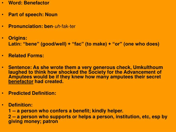 Ppt word benevolent part of speech adjective for Terrace in a sentence