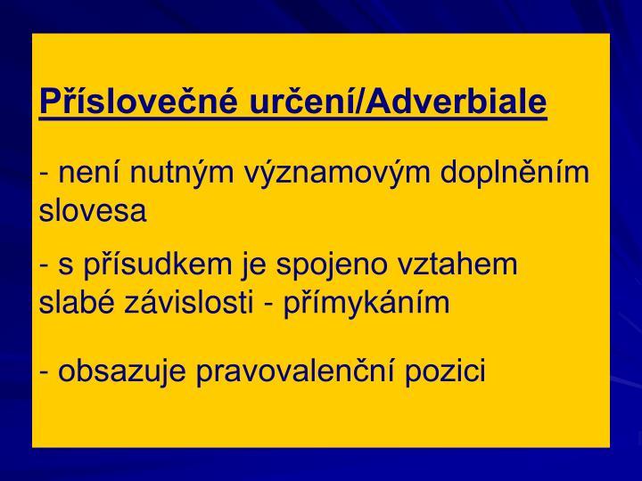 Příslovečné určení/Adverbiale