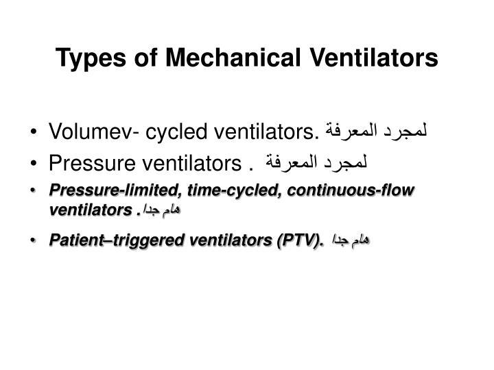 Types of Mechanical Ventilators