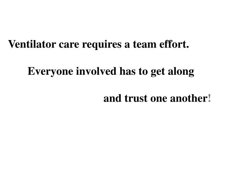 Ventilator care requires a team effort.