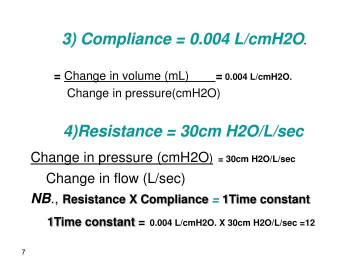 3) Compliance = 0.004 L/cmH2O