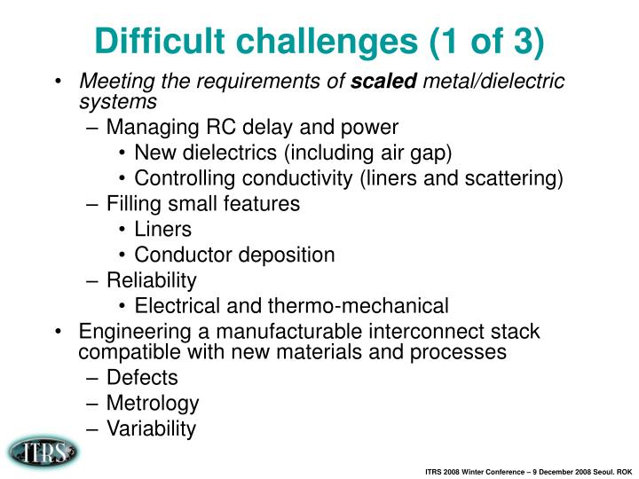 Difficult challenges (1 of 3)