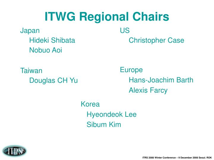 Itwg regional chairs
