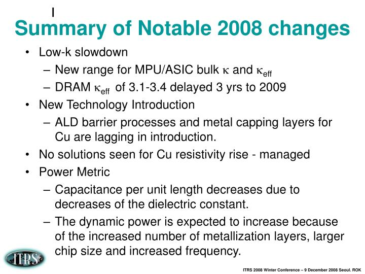 Summary of Notable 2008 changes
