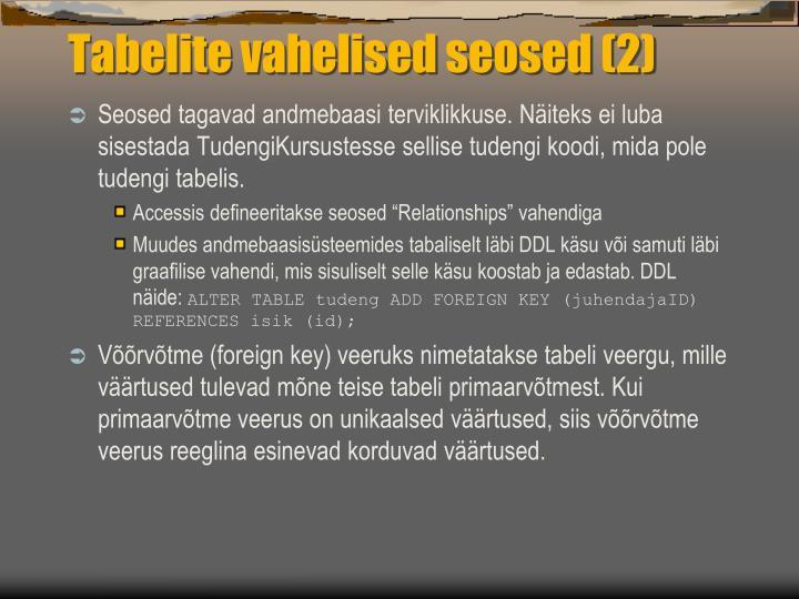 Tabelite vahelised seosed (2)