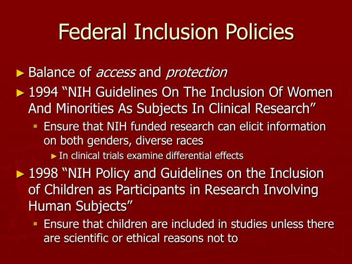 Federal Inclusion Policies