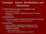 tuskegee issues ramifications and resolutions