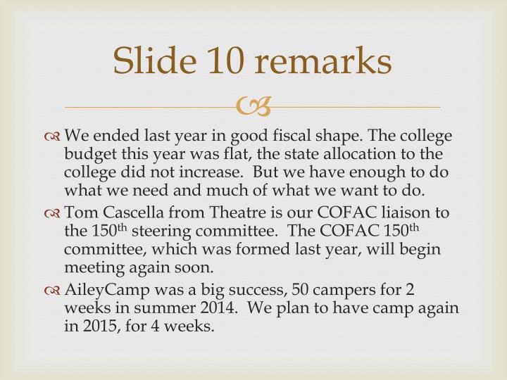 Slide 10 remarks