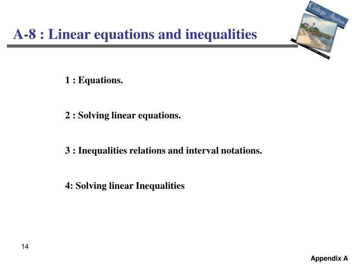 A-8 : Linear equations and inequalities