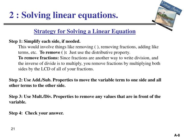 2 : Solving linear equations.