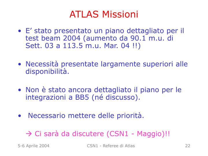 ATLAS Missioni
