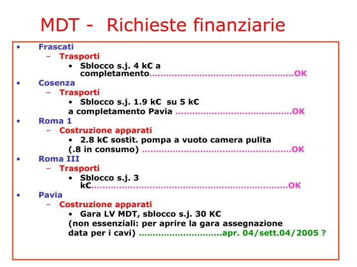 MDT -  Richieste finanziarie