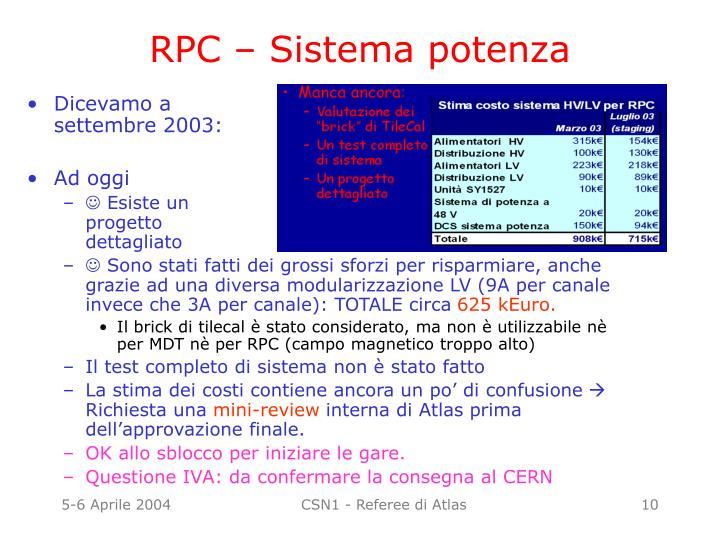 RPC – Sistema potenza