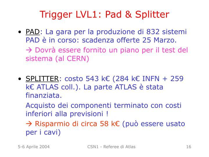 Trigger LVL1: Pad & Splitter