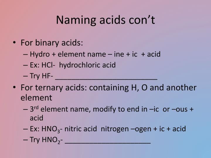 Naming acids con't