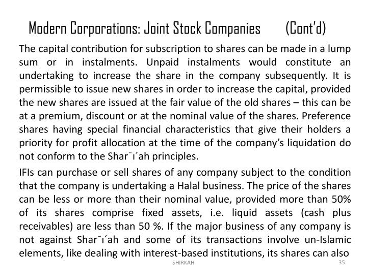 Modern Corporations: Joint Stock Companies	(Cont'd)