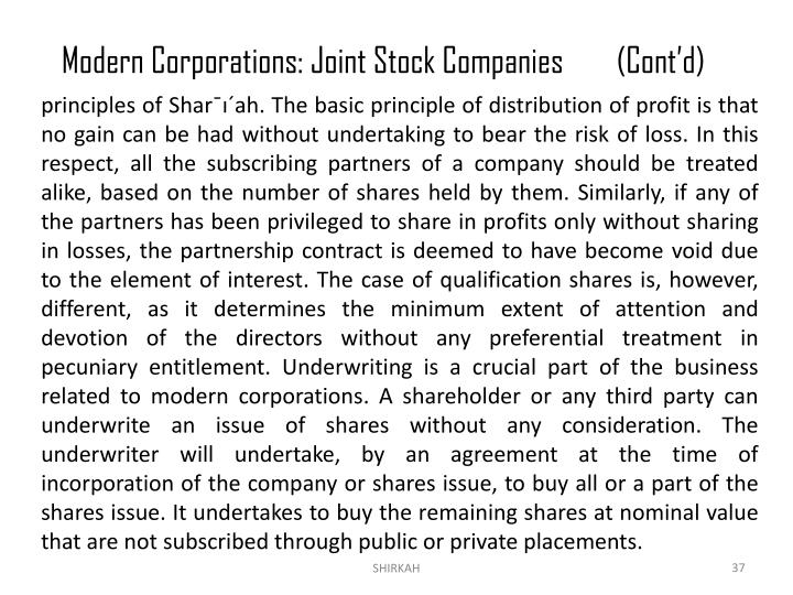 Modern Corporations: Joint Stock Companies(Cont'd)