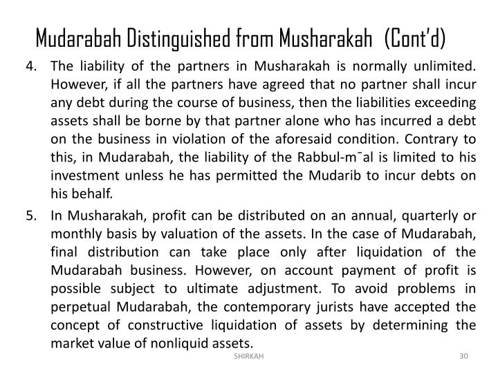 Mudarabah Distinguished from Musharakah	(Cont'd)