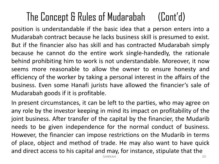The Concept & Rules of Mudarabah	(Cont'd)