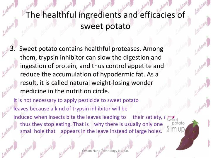 The healthful ingredients and efficacies of sweet potato