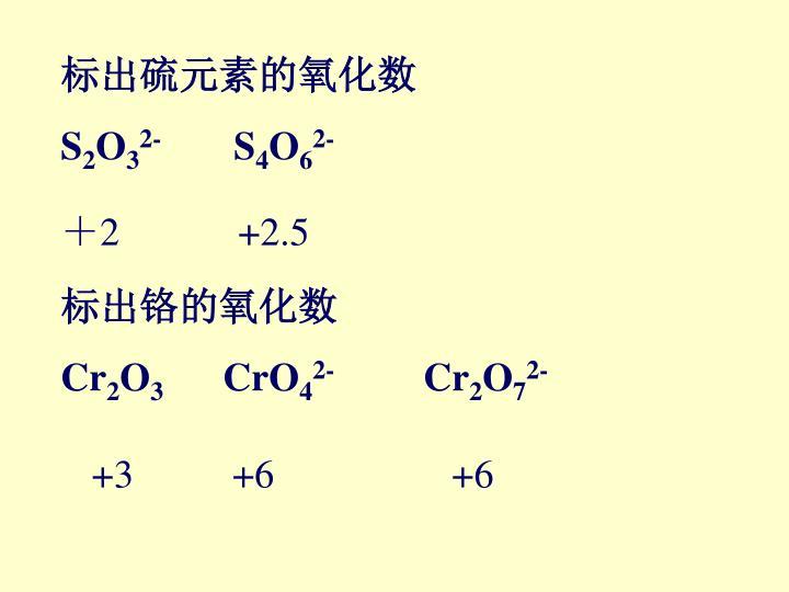 标出硫元素的氧化数