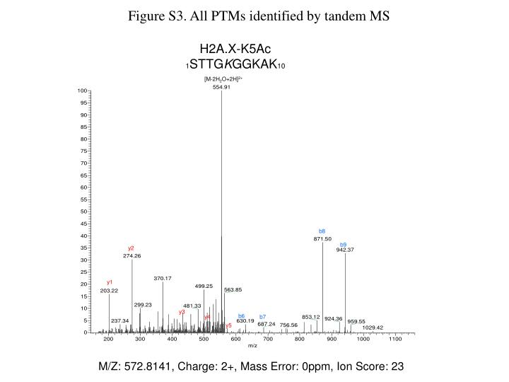 Figure S3. All PTMs identified by tandem MS