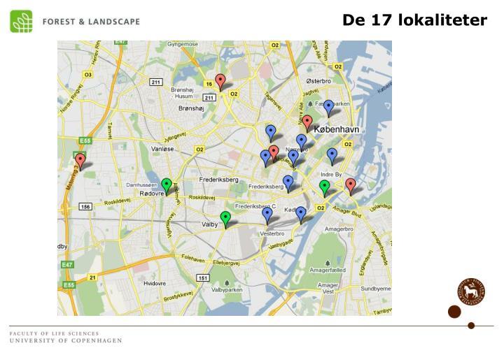 De 17 lokaliteter