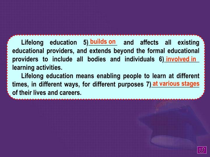 Lifelong education 5)_________ and affects all existing educational providers, and extends beyond the formal educational providers to include all bodies and individuals 6)___________ learning activities.