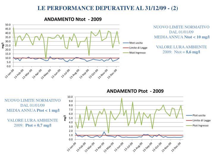 LE PERFORMANCE DEPURATIVE AL 31/12/09 - (2)