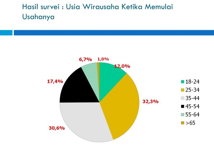 Hasil survei : Usia Wirausaha Ketika Memulai