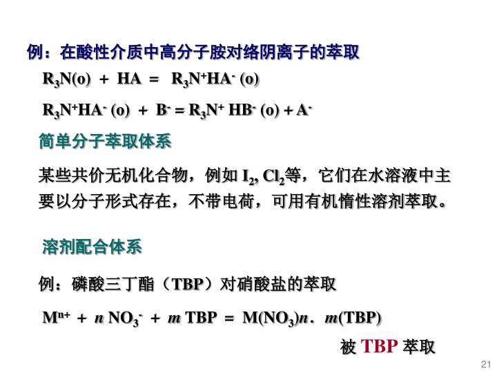 例:在酸性介质中高分子胺对络阴离子的萃取