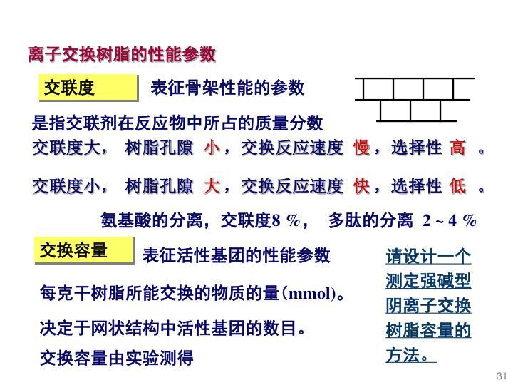 离子交换树脂的性能参数