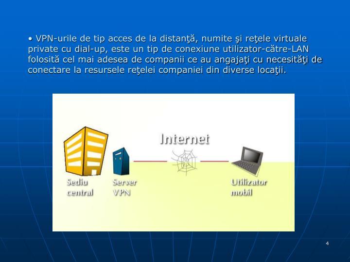 VPN-urile de tip acces de la distanţă, numite şi reţele virtuale private cu dial-up, este un tip de conexiune utilizator-către-LAN folosită cel mai adesea de companii ce au angajaţi cu necesităţi de conectare la resursele reţelei companiei din diverse locaţii.