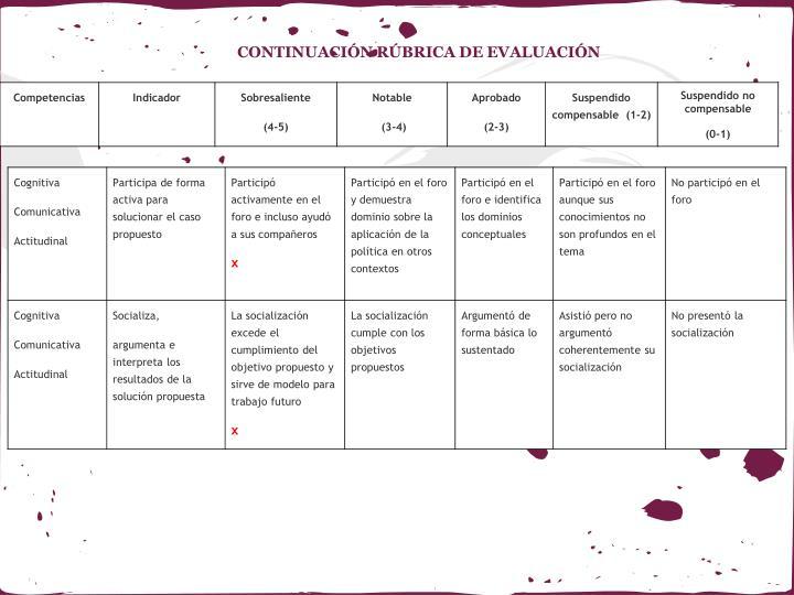 CONTINUACIÓN RÚBRICA DE EVALUACIÓN