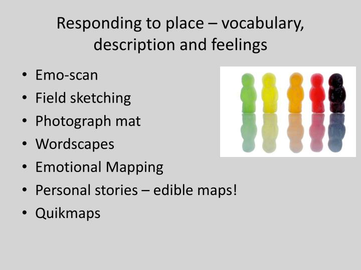 Responding to place – vocabulary, description and feelings