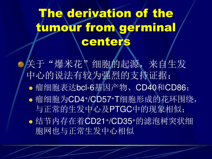 The derivation of the tumour from germinal centers