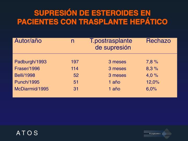 SUPRESIÓN DE ESTEROIDES EN PACIENTES CON TRASPLANTE HEPÁTICO