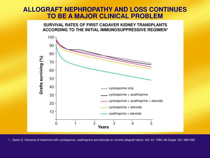 ALLOGRAFT NEPHROPATHY AND LOSS CONTINUES TO BE A MAJOR CLINICAL PROBLEM
